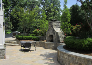 Outdoor fireplace and patio Reston VA