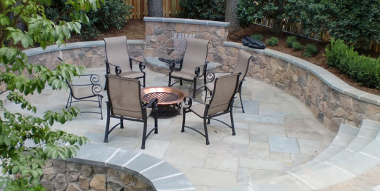 Fire pit area flagstone patio water feature Vienna VA