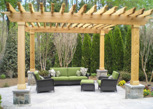 Pergola and flagstone patio McLean