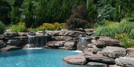 Natural water feature lagoon style pool Great Falls VA