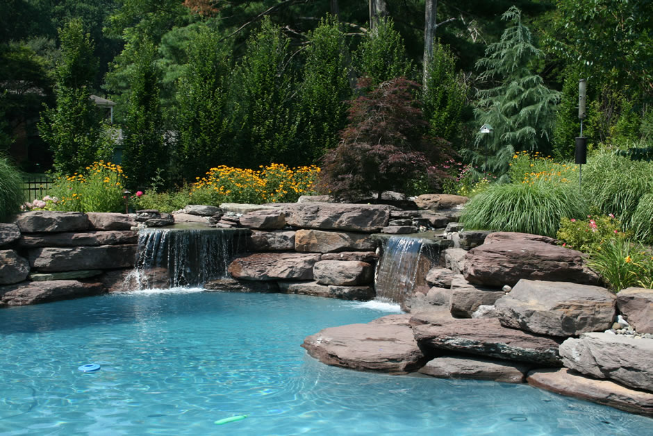 natural water feature lagoon style pool great falls va - Rectangle Pool With Water Feature