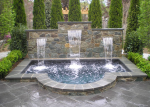 Custom spa with sheer descent water features in Great Falls VA