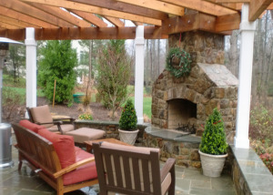 Fireplace pergola and patio Vienna VA