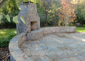 Fireplace seating walls patio Vienna Virginia