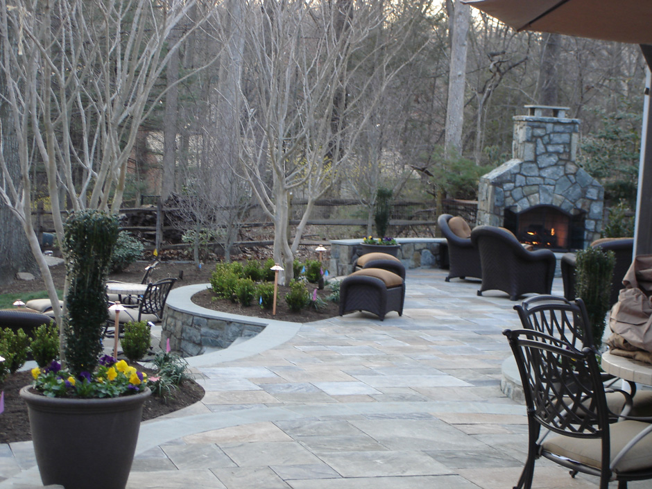 Flagstone patio and fireplace Reston VA