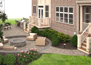 3D patio and fire pit design McLean VA