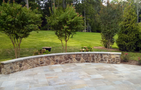Flagstone patio and seating wall Ashburn